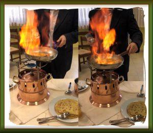 preparezione flambè: momento del fiammeggio