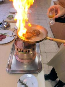fiammeggiare un filetto di manzo