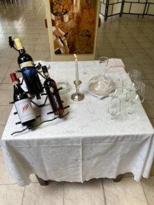 esposizione dei vini per la degustazione